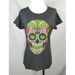 Alstyle Gray Green Skull Day of the Dead Tee Shirt